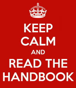 keep calm and read the handbook