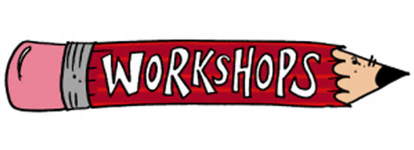 graphic of a crayon with the word Workshops on it